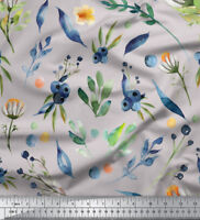 Soimoi Fabric Blue Berries & Leaves Print Fabric by the Yard - LF-651G