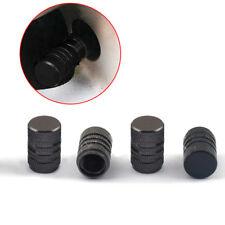 4x Black Universal Aluminium Alloy Tire/Rim Valve Air Port Dust Cover Stems Caps