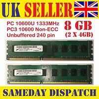 Memory-RAM-ANY-CPU-Desktop-PC-DDR3-1333-MHz-PC3-10600U Non ECC 8GB(2X4GB) Capaci