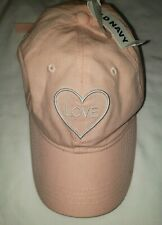 Old Navy Girls One Size Adjustable Pink Love Baseball Cap Hat Flawed New