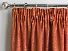 """Pair Plain Textured Woven Effect Thermal Blockout Curtains, 3"""" Pencil Pleat Tape"""