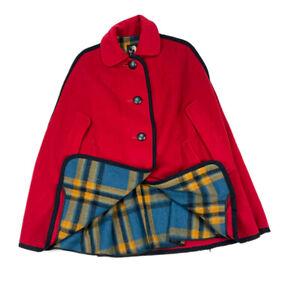 VTG M. Liman Red Wool Cape Poncho Plaid Lined Cloak Avant Mod 70s Retro OS