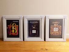 3 x Chanel No 5 Perfume Black Vintage Framed Replica Poster Prints Art A3
