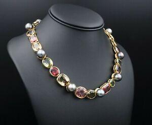 """18k De Vroomen Rainbow Tourmaline Tahitian Pearl Earrings Necklace 18"""" CO638"""