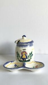French Peint Main Hand Painted Quimper Style Lidded Mustard/Jam Pot Serving Dish
