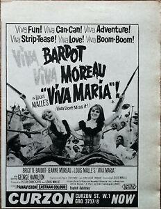 Viva Maria ! Brigitte Bardot, Jeanne Moreau Vintage Película Anuncio 1966