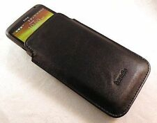 For HTC One X, Nokia Lumia 900 Hamdis Black PU Leather Slip Pouch Case Cover