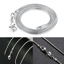 1mm Solid Sterling Silver 925 Snake Chain Necklace Jewelry 16/18/20/22/24 Inch