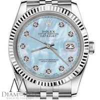 Unisex Rolex 36mm Datejust Baby Blue MOP Mother Of Pearl Diamond Dial SS Jubilee