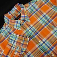 Mens Polo Ralph Lauren Orange Plaids Oxford Golf Dress Shirt Size Large L Casual