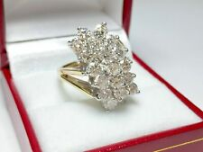 2 Ct Round D/VVS1 Diamond 14k Yellow Gold Fn Cluster Engagement & Wedding Ring