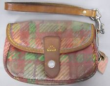 Dooney & Bourke Flap Wristlet Bag Coated Canvas Brown Leather Trim with Green
