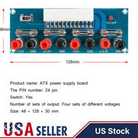 USA ATX Benchtop Board Computer PC Power Supply Breakout Adapter Module 24Pin
