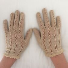 Paire De Gants Femme Anciens En Dentelle Écrue/ Pair of Woman's off-white Gloves