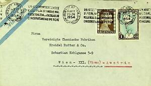 ARGENTINA 1954 FAMOUS PEOPLE MAP 2v ON AIRMAIL COVER TO AUSTRIA