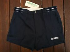 """RENEE Mens Retro Style Mid 80s Tennis Shorts Waist Size 32"""" 32 Inch in Navy Blue"""
