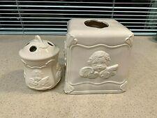 Vintage Porcelain White Angel Vanity Set Tissue Box Kleenex Toothbrush Holders