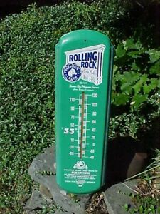 """1992 ROLLING ROCK BEER Metal Litho ADVERTISING THERMOMETER 28"""" Working"""