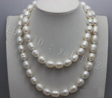 """natural 12-13mm white baroque freshwater cultured pearl necklace 34"""" LL003"""