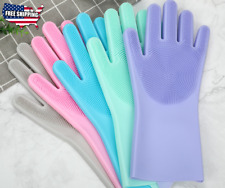 Magic Gloves Brush Dish Washing Silicone Rubber Scrubber Kitchen Home Cleaning