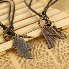 Angel Wing Pendant Leather Charms Vintage Necklace for Women Men Jewelry Gift