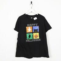 Vintage Women's Novelty Graphic Happy Halloween Big Logo T Shirt Tee Black   2XL