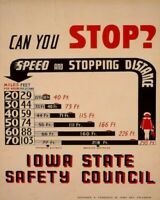 CAN YOU STOP IOWA STATE SAFETY COUNCIL WPA POSTER 8X10 PRINT 28012007721