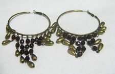 earrings deep red facets 2¼ ins wide Lovely gold tone metal hoop style statement