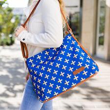 Crosses Hobo Crossbody Bag | Blue & Gold | Canvas & Vegan Leather *Clearance*