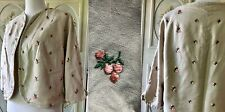 Vtg 50s Tan Cotton Crop Shrug Jacket With Pink Embroidered Silk Cherries Green
