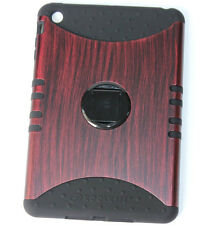 iPad Mini 1st 2nd 3rd Gen - AMBER WOOD Hard&Soft Rubber Hybrid Armor Stand Case