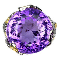 Handmade Natural Round Purple Amethyst 39.10ct 925 Sterling Silver Ring Size 8