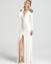 $398 BCBG MaxAzria Anna Gardenia White Sequin Jersey Gown Prom Dress Small S 6