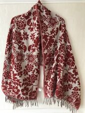 PURE WOOL LARGE SCARF/STOLE/WRAP Red & Stone Unusual Mix-LOEVENICH GERMANY VGC