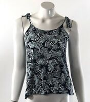 Gap Luxe Tank Top Size XS Blue Green Palm Frond Print Tie Shoulders Womens