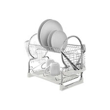 2 Tier Chrome Kitchen Easy Drip Dish Drainer Plates Rack & Glass Cutlery Holder