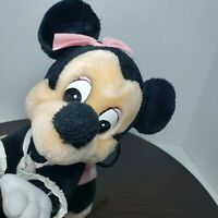 """Vintage 1984 Disney Parks Plush 10"""" Baby Minnie Mouse Crawling Toy"""