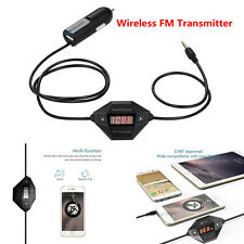 Wireless FM Transmitter Radio Car Kit Hands-free Calling 3.5mm Aux & USB Charger