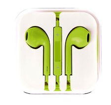 New Lime Green Colour Headphones Earphone Handsfree With Mic For iPhone Models