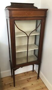 Antique Mahogany Victorian Display Cabinet with original lock and key