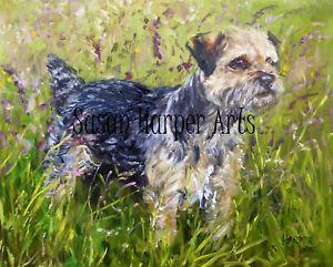 SALE Border Terrier Signed Dog Print by Susan Harper Unmounted