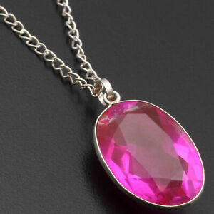"""Pink Quartz Sterling Silver Plated Necklace 24"""" Gemstone Jewelry W17034"""
