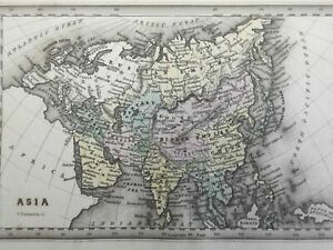 Asia Continent Ottoman Empire Qing China British Raj Arabia 1832 Carey & Lea map