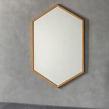 Helston Large Antique Gold Metal Geometric Overmantle Wall Mirror 90cm X 60cm