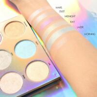 Rainbow 6 Colors Shimmer Bronzer Highlighter Glow Palette Makeup Glitter