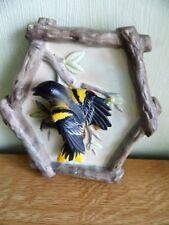 Porselein wandbord -  Figuur van vogel op tak - Oriole