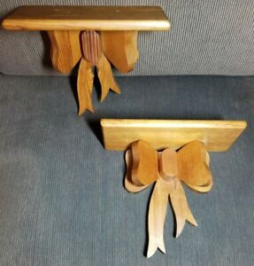 Vintage Large Solid Wood Bow Tie Wall Sconce Shelves