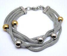 European Bracelet Ladies Woman Mesh 2-Tone Gold Color Beats Charm Unbrended