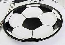 10 Assiettes Carton Jetables Blanc FOOTBALL rondes Déco Table Fête Anniversaire