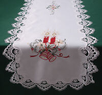 New Lace Schiffli Christmas Table Runner  Festive Centre  mat red green  X402